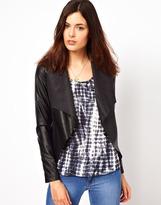 Warehouse Leather Look Drape Jacket