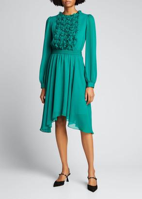 Jason Wu Ruffle-Front Georgette Dress with Asymmetric Hem