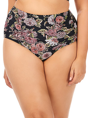 Raisins Curve Women's Bikini Bottoms BLK - Black & Pink Floral Costa High-Waist Bikini Bottoms - Plus