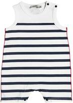 Junior Gaultier Striped Cotton Jersey Romper