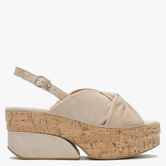 Daniel Jenna Beige Suede Knotted Chunky Heel Sandals