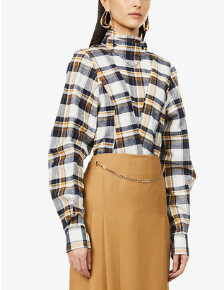 Victoria Beckham Checked panelled cotton top