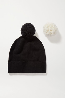 Yves Salomon Pompom-embellished Wool And Cashmere-blend Beanie - Black