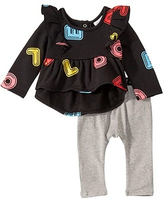 TINY TRIBE Love Swing Top Leggings Set (Infant) (Black/Grey) Girl's Active Sets