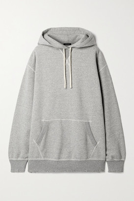 R 13 Vintage Oversized Distressed Cotton-jersey Hoodie - Gray