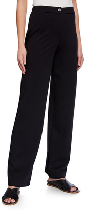 Eileen Fisher Plus Size Flex Ponte Zip-Front Straight-Leg Pants