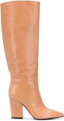 Sergio Rossi Lizard-Effect Block Heel Boots