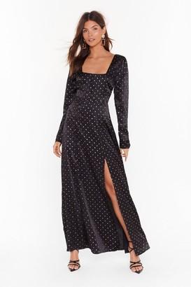 Nasty Gal Womens Hit the Satin Spot Slit Maxi Dress - Black - 6