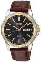 Seiko Sne102p9 Solar Day Date Leather Strap Watch, Maroon/black
