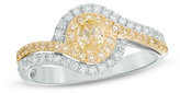 Zales 7/8 CT. T.W. Oval Fancy Yellow and White Diamond Swirl Frame Bypass Two Row Engagement Ring in 18K Two-Tone Gold