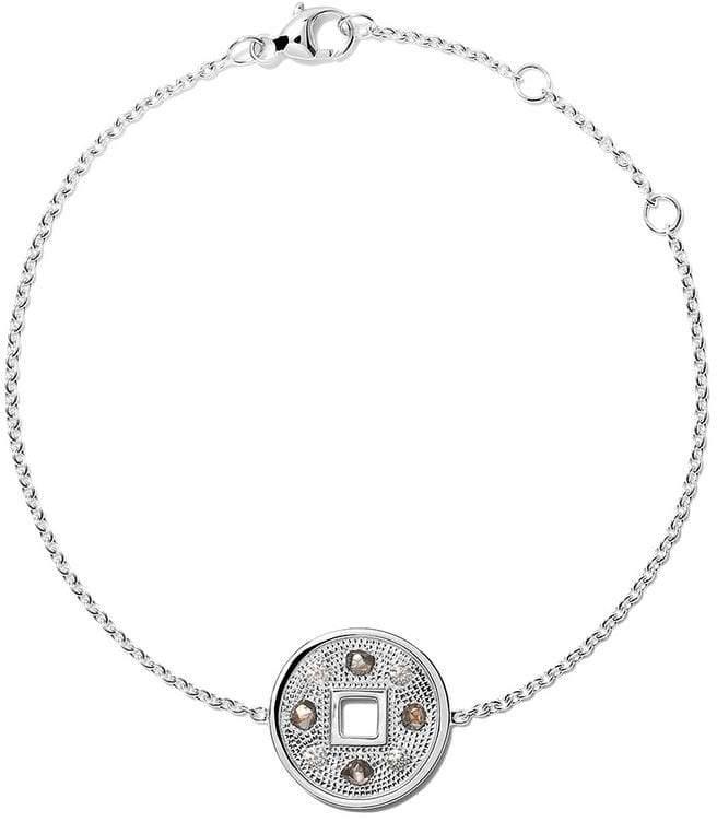 De Beers 18kt white gold Talisman Lucky Coin diamond bracelet