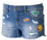 Tinseltown Juniors' Patch Ripped Jean Shortie Shorts