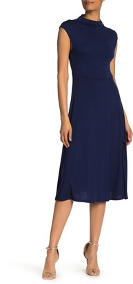WEST KEI Mock Neck Cap Sleeve Slit Midi Dress
