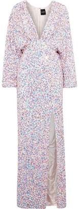 retrofete Camille Gathered Sequined Chiffon Maxi Dress