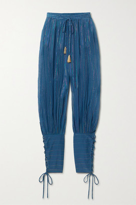 Miguelina Tara Striped Cotton And Lurex-blend Tapered Pants - Blue
