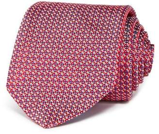 Eton Embroidered Circle Grid Silk Classic Tie
