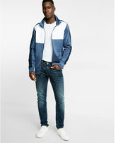 Express Color Blocked Double Knit Zip Front Track Jacket