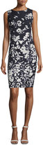 Lafayette 148 New York Evelyn Augusto Impression Floral-Print Sheath Dress, Ink Multi