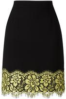 Moschino lace detail straight skirt