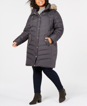 Michael Kors Michael Plus Size Hooded Faux-Fur-Trim Puffer Coat, Created for Macy's