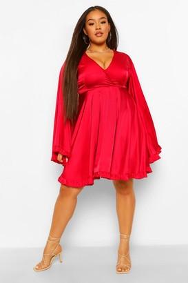 boohoo Plus Satin Ruffle Wide Sleeve Skater Dress
