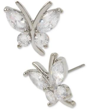 Betsey Johnson Silver-Tone Crystal Butterfly Stud Earrings