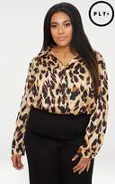 PrettyLittleThing Plus Brown Leopard Print Oversized Shirt