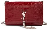 Saint Laurent Medium Kate Tassel Croc Embossed Calfskin Leather Crossbody Bag - Burgundy