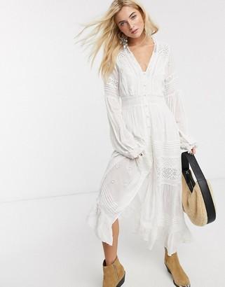 Free People lisa midi dress in white