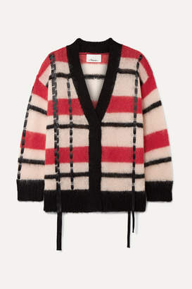 3.1 Phillip Lim Oversized Satin-trimmed Striped Open-knit Cardigan - Red