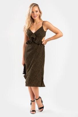 francesca's Mali Leopard Ruffle Midi Dress - Sage