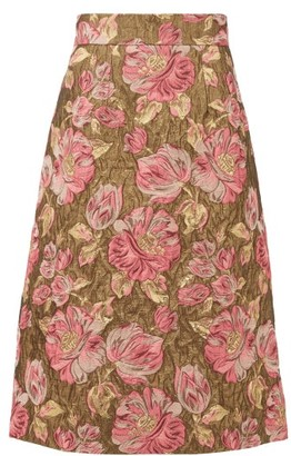 Dolce & Gabbana High-rise Floral-jacquard Lurex Circle Skirt - Womens - Gold Multi