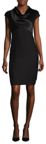 Magaschoni Matte & Shine Silk Sheath Dress