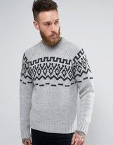 Asos Knitted Sweater With Geo-Tribal Design In Wool Mix Yarn