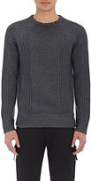Helmut Lang MEN'S MIXED-KNIT SWEATER-DARK GREY SIZE L
