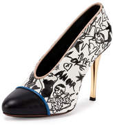 Lanvin Printed Cap-Toe 110mm Pump, White/Black