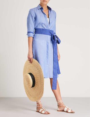 Pdn London Victoria belted linen shirt dress