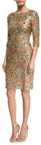 Naeem Khan Beaded 3/4-Sleeve Fitted Cocktail Dress, Gold