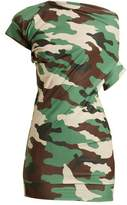 Junya Watanabe Ruched-detail camouflage-print jersey top