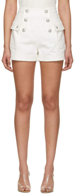 Balmain White High-Waisted Double-Breasted Shorts