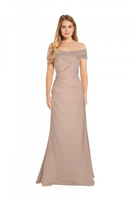Adrianna Papell Metallic Knit Gown In Champagne