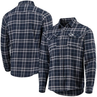 Antigua Men's Navy/Gray New York Yankees Flannel Button-Down Shirt