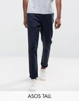 Asos Tall Tapered Chinos In Navy