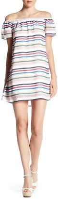 Want & Need Off-the-Shoulder Multi Stripe Dress