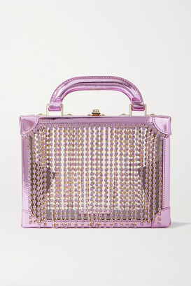 Area Ling Ling Crystal-embellished Metallic Leather And Pvc Tote - Lavender