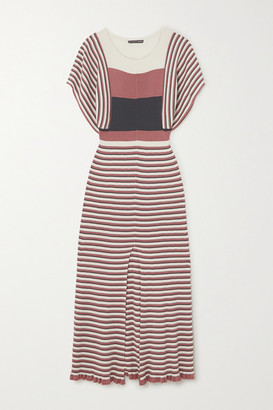 ALEXACHUNG Striped Ribbed Silk And Cotton-blend Midi Dress - Pink