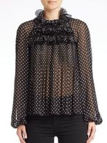 Giamba Ruffled Neck Bishop Sleeve Top