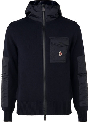 Moncler Shell-Panelled Padded Wool-Blend Hooded Zip-Up Cardigan
