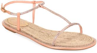 Rene Caovilla Crystal-Strap Flat Thong Sandals