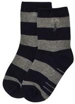 Ralph Lauren Navy and Grey Stripe Socks with PP